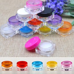 Round Plastic Jars Lids Australia - sale5g X 50pc empty square cosmetic container jar with round lid transparent ,clear plastic bottles tin,sample