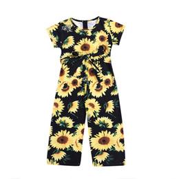 $enCountryForm.capitalKeyWord UK - Baby girls sunflower romper Newborn infant Flower print Jumpsuits 2019 summer fashion Boutique kids Clothing B11