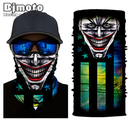 skeleton masks bicycle UK - Bjmoto Sport Bicycle Scarf Neck Face Mask Ghost Skull Fire US America Mexico DE flag Skeleton Bandana Shield Headband Headwear