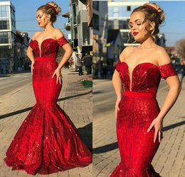 Red Formal Jacket Dress Sequins Australia - 2019 Red Mermaid Prom Dresses Off The Shoulder Lace Sequins Beaded Evening Dress Party Wear Custom Made Plus Size Formal Dresses