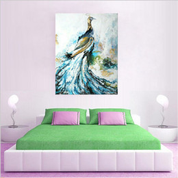 paintings peacocks NZ - Hand-painted abstract modern bird peacock oil painting on canvas art decorative animal wall pictures for home decor handmade oil painting