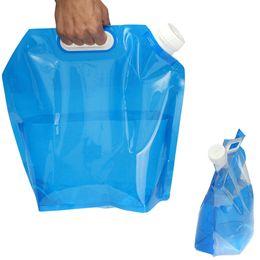 Venta al por mayor de Bolsa de agua HBP 5L PE para la bolsa de elevación de almacenamiento de agua plegable portátil para acampar Senderismo Supervivencia Hidratación Almacenamiento de la vejiga 30 * 32.5cm