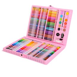painting nylon plastic UK - 163pcs Art Set Kids Brush Painting Set Watercolor Pen Crayons Artist Tool Kit Drawing Pen Box Gifts Art Supplies T8190617