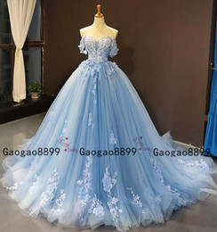 Burgundy emBroidery online shopping - 2020 Sky Blue Prom Quinceanera Dresses Cheap Ball Gowns off the shoulder Lace Applique Tiered Skirt Tulle Sweet custom made