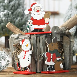 Discount wooden tree shapes - Christmas Pendant Drop Ornaments Snowman Wooden Shapes Christmas DIY Craft Xmas Gifts Decorations for home window