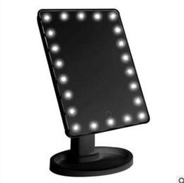 Stock Mirrors Australia - In stock LED Make Up Mirror Cosmetic Desktop Portable Compact 16 LED lights Lighted Travel Makeup Mirror for women Black White pink