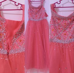 Cheap Cap sleeve pageant dress online shopping - 2020 Cute Coral Cheap Flower Girls Dresses Bateau Neck Cap Sleeves Crystal Beaded Long Birthday Communion Children Girl Pageant Gowns