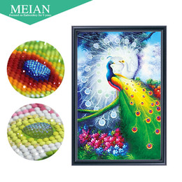 DiamonD painting peacock online shopping - Meian Special Shaped Diamond Embroidery Animal Peacock D Diamond Painting Cross Stitch D Diamond Mosaic Decoration Christmas