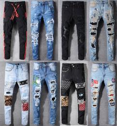 Wholesale red blue denim skinny jeans for sale – denim Now Mens Jeans Distressed zipper Hole Men Jeans High Quality Casual Jeans Men Skinny Biker Pants Blue Big Size