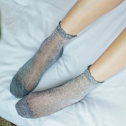 trendy knee socks UK - Women Fashion Shiny Socks Trendy Girls Glitter Ankles Socks Spring Summer Thin Gauze Transparent Lady Sox Cute Soft