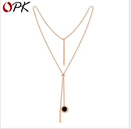 $enCountryForm.capitalKeyWord NZ - Rose Gold Titanium Steel Necklace Black and white double-sided Long Necklace lady accessories