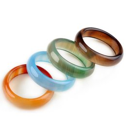 agate stone band rings 2019 - 50pcs Fashion Lady Women Multicolor Natural Stone Rings Charm Jewelry Men High Quality Faux Agate Rings Mixed Lots cheap