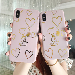 Cartoon Stamping Australia - Love Cartoon Snoopy Phone Case Hot Stamping For Iphone Xs Max Xr 6 7 8 X Plus TPU All-Inclusive Soft Cell Phone Cases