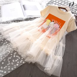 Wholesale Dfxd Summer New Fashion Baby Girls Short Sleeve Ice Cream Print Mesh Net Yarn Party Princess Dress Toddler Clothes years Y19061701