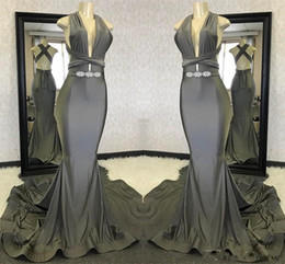 $enCountryForm.capitalKeyWord Australia - Dark Gray Prom Dresses 2019 Simple Designed Mermaid Convertible Strap Top Satin Evening Gowns Custom Made Women Occasion Wears