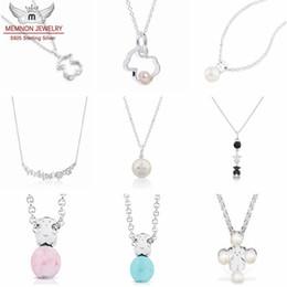 Hohe Qualität 100% 925 Sterling Silber niedlichen Bären Anhänger Halskette mit Perlen Kragen Galaxy Silueta Anhänger Halsketten für Frauen feinen Schmuck im Angebot