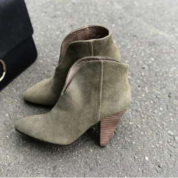 $enCountryForm.capitalKeyWord Australia - Army Green Suede Leather Cone Heel Ankle Boots Slim fit V Shape Winter Shoes Women