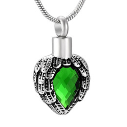 Birthstone pendants for necklaces online shopping - IJD8719 Stainless Steel Cremation Angel Wings Green Birthstone for Ashes Crystal Pendant Necklace Heart Shaped Memorial Chain Jewelry