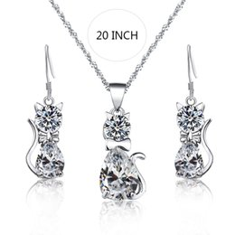 Discount women bridal sets - QCOOLJLY Cystal Women Jewelry Set Cartoon Cat Bowknot Dangle Earrings Korean Pendant Necklaces Set Bridal Wedding 2019 J