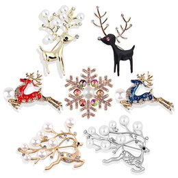 1d7060b755d 1pc New Crystal Christmas Brooch Rhinestone Reindeer Snowflake Plum Deer Brooch  Pin Xmas Party Jewelry Gift Multi Style