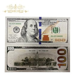 dollar glasses Canada - 10pcs lot For New Products Colored America Banknotes 100 Dollars Gold Banknote in 24k Silver Plated as Bill Currency Gifts