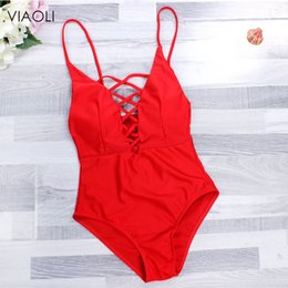 red suits Canada - New One Piece Red Swimsuit Bandage Swimwear Women Monokini Swimming Suit for Women Sexy Bathing Suit Biquini Lady's Beachwear