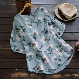 female linen shirts NZ - Plus Size Summer Fashion Boho Print Linen Blouse Ladies Loose Short Tee Tops Female Womens Half Sleeve Shirt Blusas Femininas Pullover