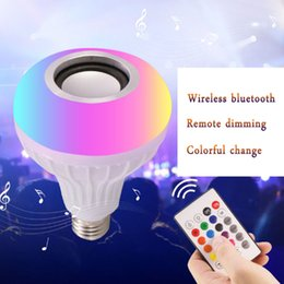Wholesale NEW E27 Smart LED Light RGB Wireless Bluetooth Speakers Bulb Lamp Music Playing Dimmable W Music Player Audio with Keys Remote Control