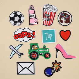 Shoes Repair Australia - Pink High Heeled Shoes Bomb Plane Embroidery Patches Sew Iron On Applique Repair DIY Badge Patch For Kids Clothes Jacket Bag Garment