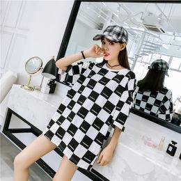 $enCountryForm.capitalKeyWord Australia - jimmyhey korean Black white lattice Printed big size long T Shirt Ladies Street Hip Hop T-shirts Summer women casual loose Harajuku tops