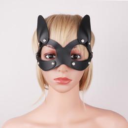 $enCountryForm.capitalKeyWord UK - IEFIEL Women PU Leather Rhinestone Sexy Cat Mask Half Face Mask Eye Cover for Masquerade Halloween Cosplay Fancy Dress Costume