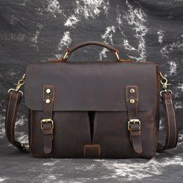 cd1a64a7d8af Новый Crazy Horse натуральная кожа 14 ' портфель портфель мужская сумка  мужчины Crossbody сумки на ремне мужской сумка