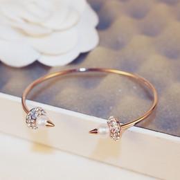 $enCountryForm.capitalKeyWord Australia - super glittering ! New fashion ins luxury designer diamond pearl open bangle bracelet for woman yong girls 18cm rose gold