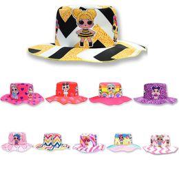 cartoon flat brim hats 2019 - Cartoon Printed Children Bucket Hat Baby Unicorn Doll Print Fisherman Sunshade Hats Girl Outdoor Travel Sun Cap TTA1275