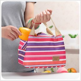 women lunch bag cooler NZ - Korean Canvas Insulation Cooler Bag For Women Kids Picnic Striped Insulated Lunch Bags Bag Zipper Lunch Box Cartoon