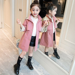 Jacket design girl online shopping - Girls Spring Autumn Outerwear Jacket Children s Casual Trench Coat Teenager Kids Waisted Design Long Windbreaker Clothes B248