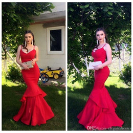 $enCountryForm.capitalKeyWord Australia - Sexy Cheap Simple Red Sexy Spaghetti Strips Mermaid Prom Dresses Long Formal Special Occasion Dress Maxi Dress For Ladies Custom Made
