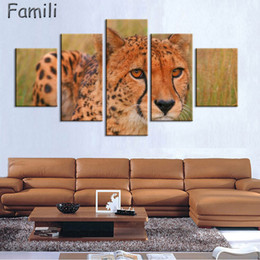 $enCountryForm.capitalKeyWord Australia - Frameless 5Panel Canvas Wall Art Pictures Modern Large Size HD Printed Cheetah African Oil Painting Cuadros Decor for Bedroom