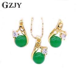$enCountryForm.capitalKeyWord Australia - GZJY Fashion Pure Gold Color Heart Zircon Green Stone Charms Pendant Necklace Earrings Set For Women Party indian Jewelry bijoux