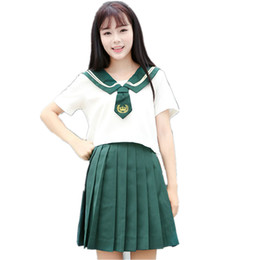 $enCountryForm.capitalKeyWord UK - School Class Uniform Pleated Skirt Green Sailor Costume Suits For Women Japan Korean Student Girls Two-piece Suit For Cosplay