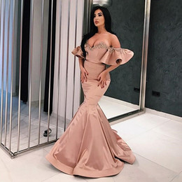 beaded bodice prom dresses Australia - Sexy Off-Shoulder Womens Formal Party Dresses Sweetheart Bodice Mermaid Evening Dress Crystals Beaded Vestidos de Noiva Prom Gowns