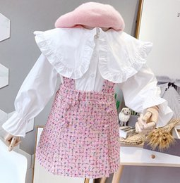 Wholesale big breasted lady for sale – winter Lady style children princess outfits kids big falbala lapel pearls buckle flare sleeve bottoming shirt plaid suspener dress sets F9664