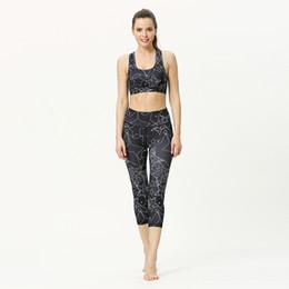 $enCountryForm.capitalKeyWord Australia - Women Sexy Sport Yoga Set Super Elastic Athletic Gym Outfit Running Training Fitness Suit Digital Print Bra Top Workout Leggings Capri Pants
