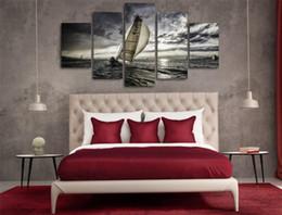 $enCountryForm.capitalKeyWord Australia - Meer Segeln Wolken,5 Pieces Home Decor HD Printed Modern Art Painting on Canvas (Unframed Framed)