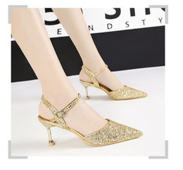 $enCountryForm.capitalKeyWord Australia - Luxury new sequins lady wedding shoes fashion pointed toe 6.5cm stiletto heel banquet dress pumps for party 6 colors 9222-2