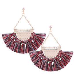 $enCountryForm.capitalKeyWord Australia - Bohemian Style Fan Shape Tassel Earrings Temperament Retro Style Fine Dangle Earrings Fashion Popular Jewelry Eardrop Chandelier Jewelry