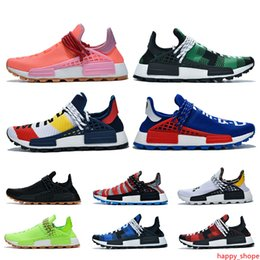 trail trainers UK - 2019 Pharrell williams NMD Human Race for men women Trail Infinite Species Reflective BBC Blue Red Green Plaid Designer Trainers Sneakers