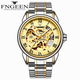 $enCountryForm.capitalKeyWord Australia - FNGEEN2019 Mechanical Watches For Men Hand-wind Steel Watches Roman Number Skeleton Wristwatches Luminous Hands reloj hombre