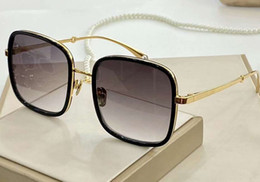 sunglasses golden chain Australia - Women Square Sunglasses Pearls Chain Gold Black Grey Shaded 2195 Sun occhiali da sole Sunglasses New with box