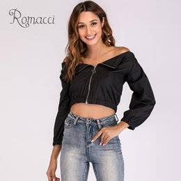 cuffs blouse Australia - Autumn Women Solid Color Off Shoulder Blouse Slash Neck Long Sleeves Elastic Cuffs Zip-Up Jacket Casual Crop Tops Black